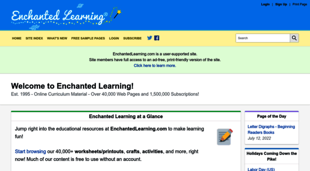 Welcome to Enchanted Learning!