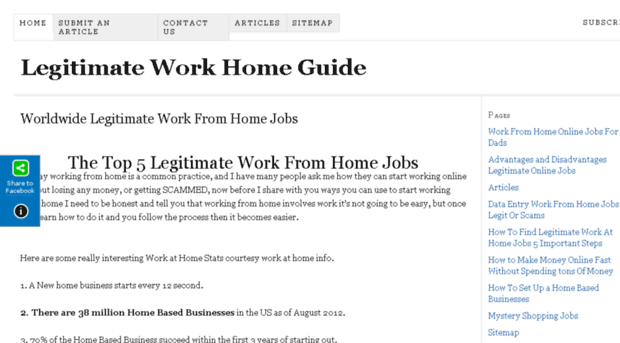 Legitimate work from home job sites